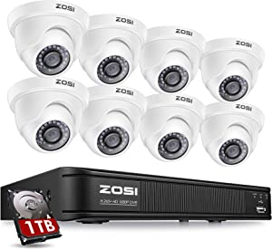 ZOSI 1080P H.265+ Home Security Camera System,5MP Lite 8 Channel Surveillance DVR with Hard Drive 1TB and 8 x 1080p Weatherproof CCTV Dome Camera Outdoor Indoor with 80ft Night Vision, Motion Alerts