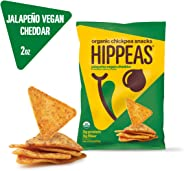 New HIPPEAS Organic Chickpea Snacks Jalapeno Vegan Cheddar Tortilla Chips | 2 ounce, 12 count | Vegan, Gluten-Free, Crunchy,