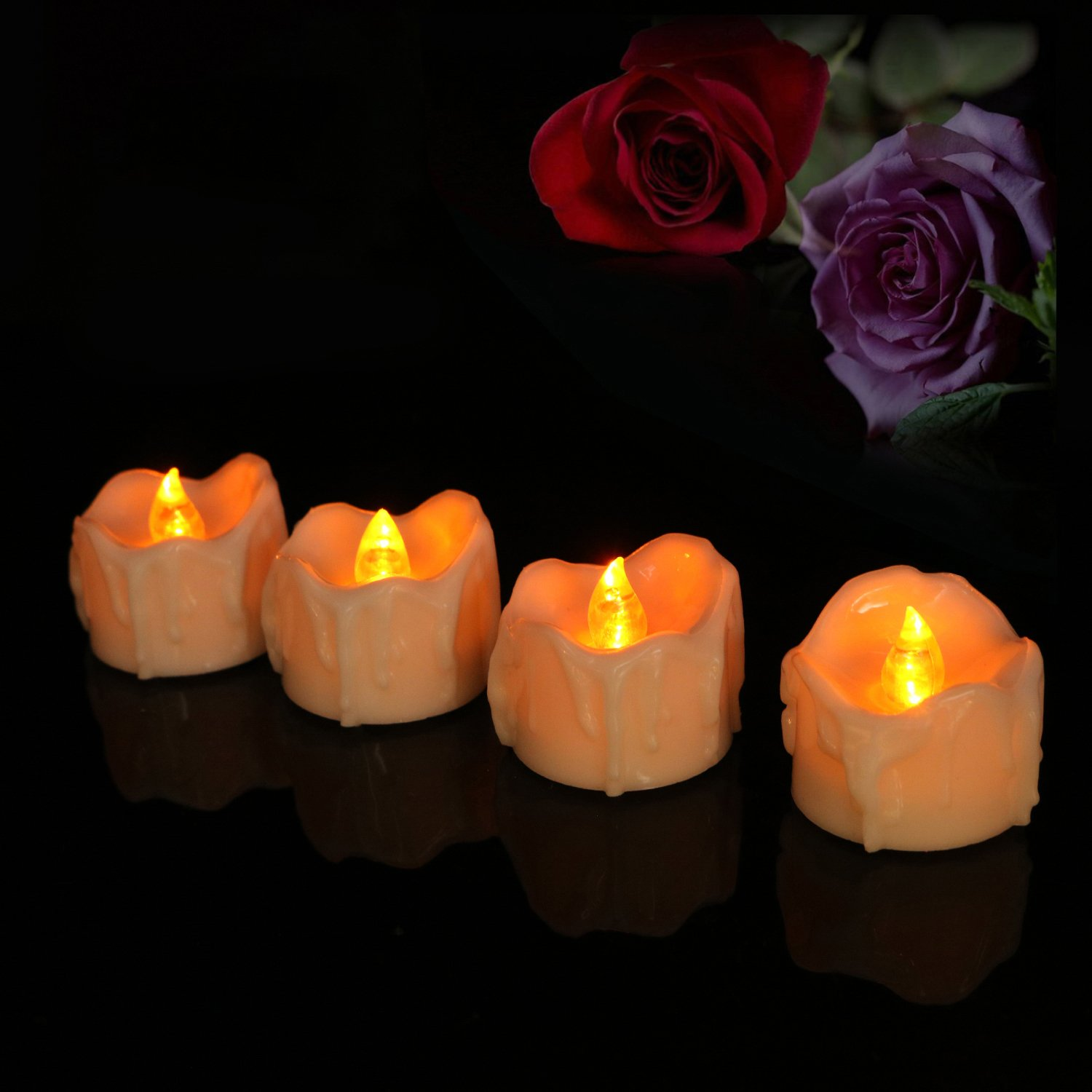 Micandle Set of 24 Yellow Led Tea Candles,Battery LED Flameless Tea Lights Candles for Wedding Party Celebrate,Wax Dripped Amber Yellow Flickering Electric Home Decorate Tealights Fake Candles