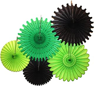 product image for 5-Piece Tissue Paper Fans, Black Green Party (13-18 Inch)