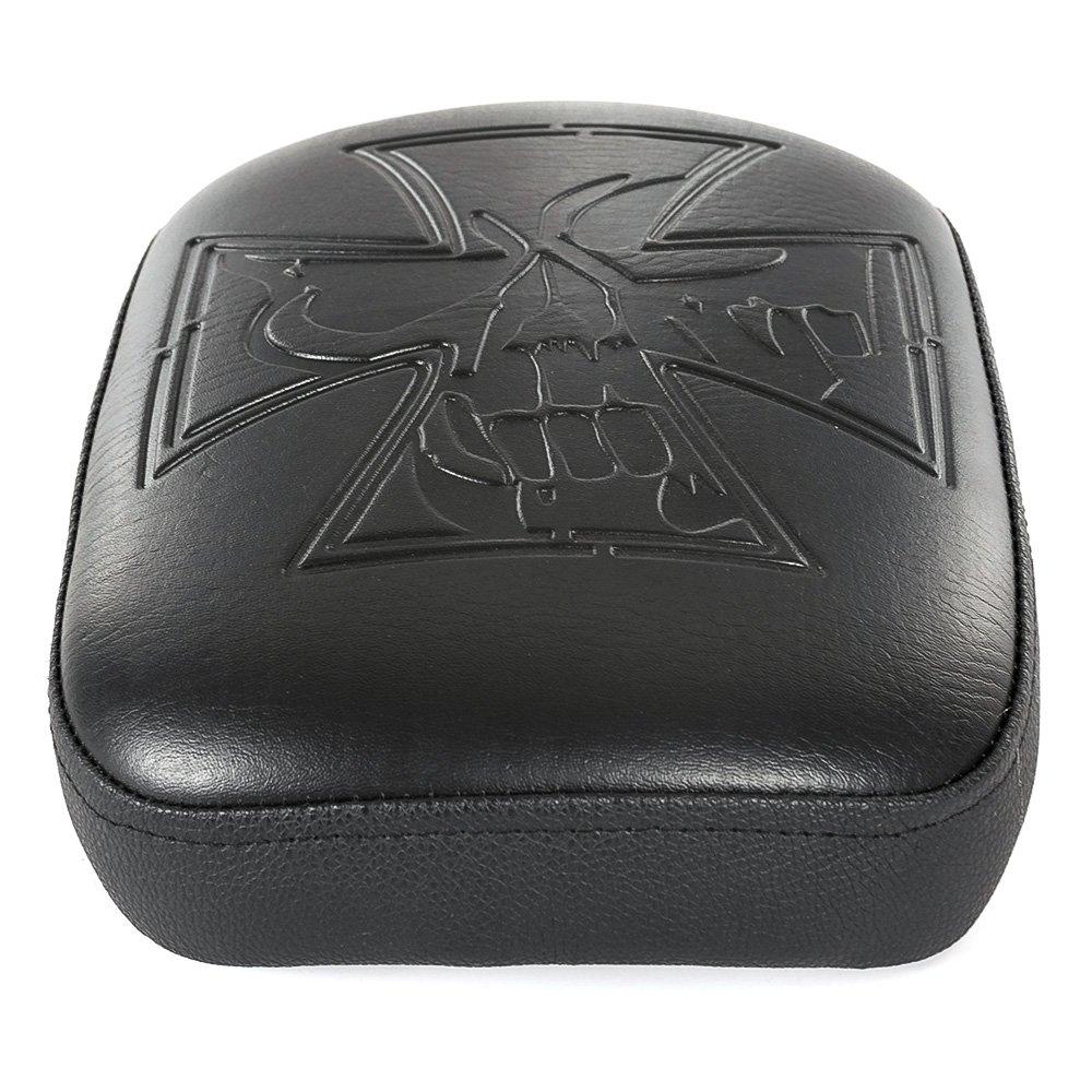 Sedile rettangolare per moto, imbottito, in pelle sintetica, per passeggero, con 8 ventose, per chopper o cruiser Harley, nero con 8ventose