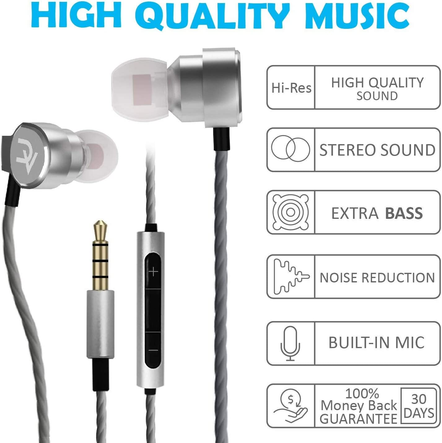 DEIVVOX Wired Earbuds with Microphone and Volume Control – in Ear Headphones Wired Ear Buds – Earphones with Microphone Mic Extra Bass – Compatible with Apple iPhone Ipad Samsung Galaxy Sony 3.5mm