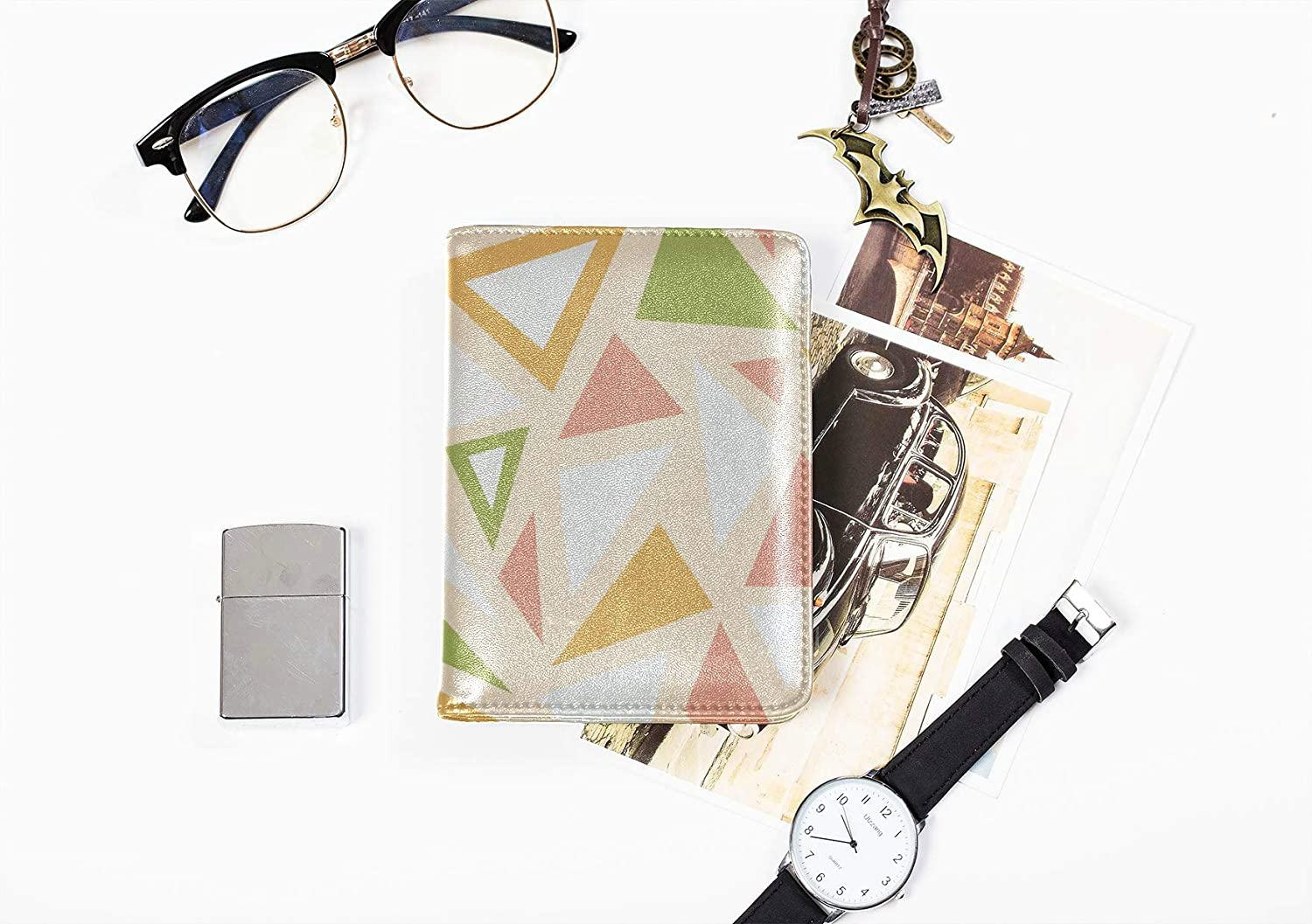 Leather Passport Cover For Women Fashion Modern Creative Triangle Case Passport Holder Multi Purpose Print Colorful Passport Cover Travel Wallets For Unisex 5.51x4.37 Inch