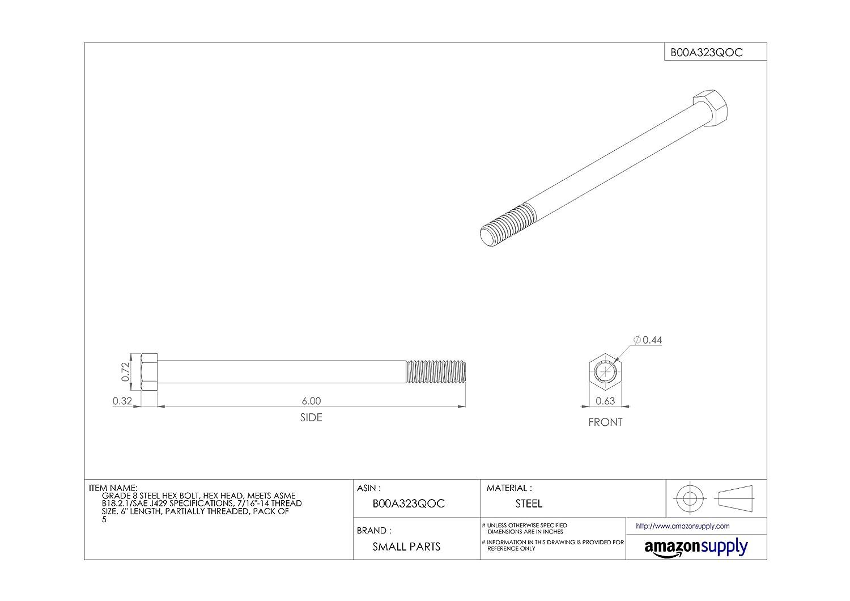 Partially Threaded 7//16-14 Threads Grade 8 Meets ASME B18.2.1//SAE J429 External Hex Drive Hex Head 6 Length Steel Hex Bolt Pack of 5 Plain Finish