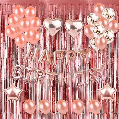 Weimi Decoración de Cumpleaños para Mujeres Inflar Globos de Confeti