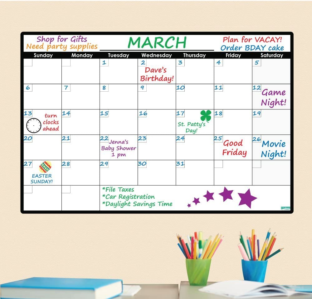 Everase Re-Stic Dry Erase Self-Adhesive Peel & Stick Monthly Calendar | Wall Planner (24 x 36 in.) Free Marker & Cloth | Organizer, Walls, Doors, Offices | Premium Quality Removable Decal