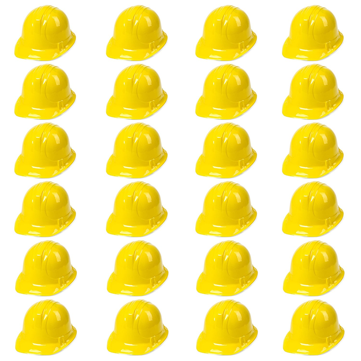 Yellow Construction Hat Toy For Kids Dress Up Theme Party Fun Pack | 24 - Pack