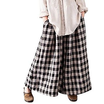 TWBB Mujeres Boho Check a Cuadros cómodos Pantalones Anchos Sueltos de Pierna Ancha: Amazon.es: Deportes y aire libre