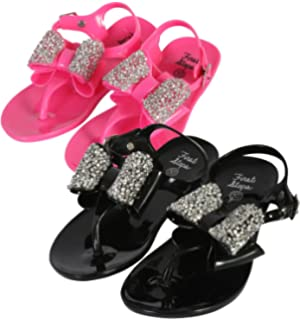 53f68ef91 first steps Girls 2 Pack Jelly Thong Sandals with Jewel Bow (Infant Toddler)