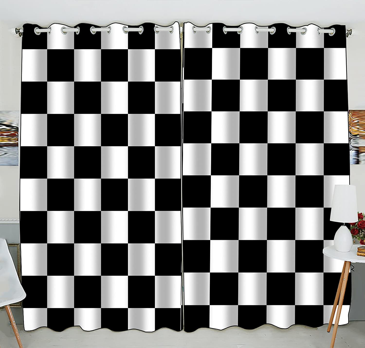 Amazoncom Custom Checkered Window Curtainblack White Checkered