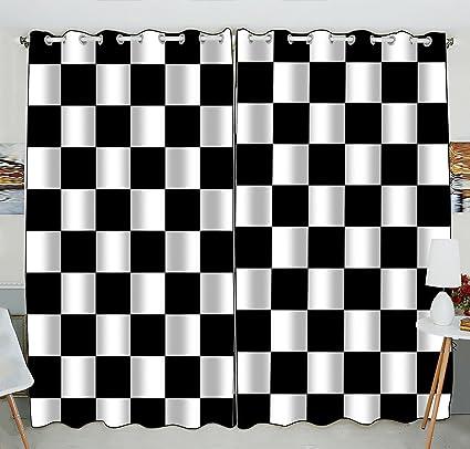Amazon.com: Custom Checkered Window Curtain,Black White Checkered ...