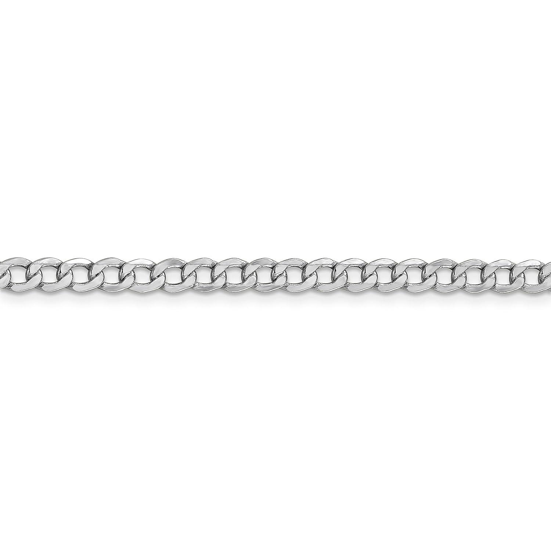 Brilliant Bijou 14k White Gold 4.3mm Semi-Solid Curb Link Chain Bracelet