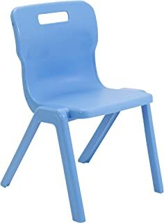 Titan One Piece Classroom Chair, Plastic, Sky Blue, Size 6, Ages 13+ Years