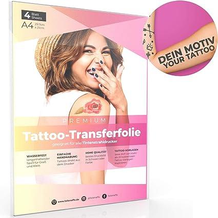 4 hojas de A4 Tattoo Premium Lámina de transferencia para aplicar ...