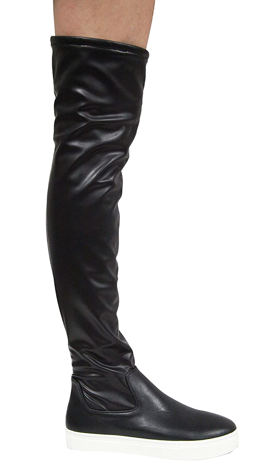 067acb4573c53 CAPE ROBBIN Adelaide-21 Black Vegan Leather White Sneaker Bottom Thigh High  Over The Knee Stretch Boots