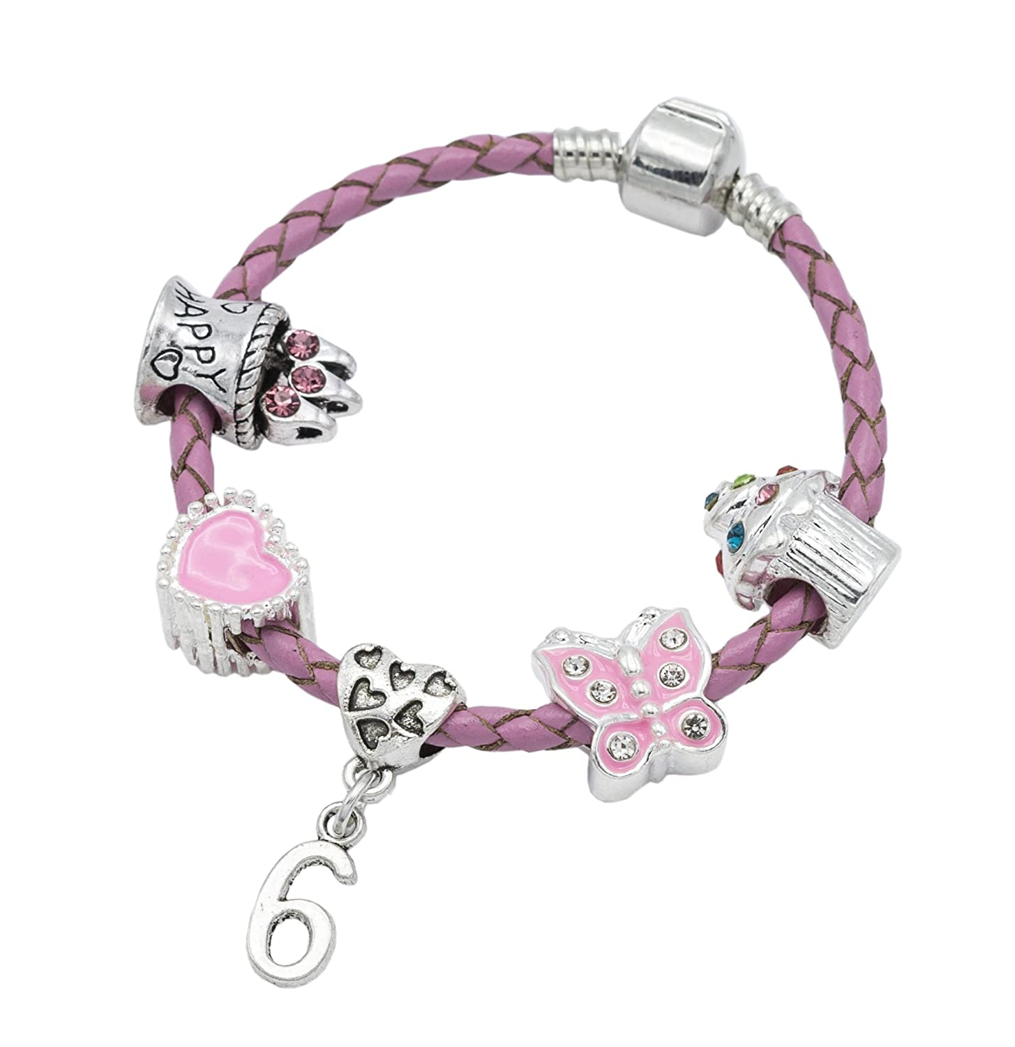 Children's Pink Leather Happy 6th Birthday Charm Bracelet With Lovely Jewellery Hut Gift Pouch - Girl's & Children's Birthday Gift Jewellery BRKID6