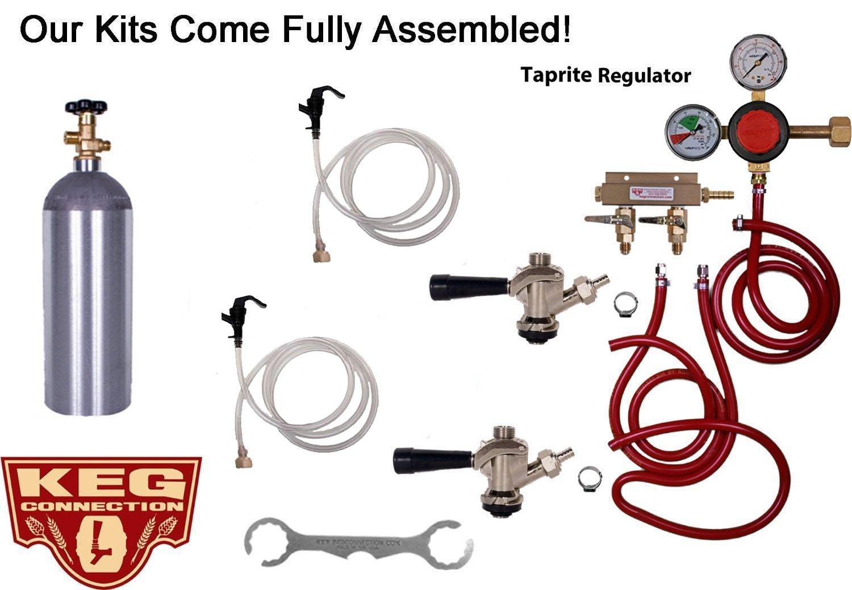 Double Tap Party Keg Kit, Taprite Regulator, Standard Commercial (Sanke) Beer Kegs, 5 lb Air Tank by Kegconnection