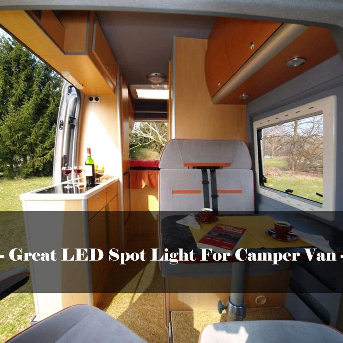 Wallfire 8Pcs 12V Innenraum LED-Spot-Licht-Flutlicht f/ür Camper Van Caravan Wohnmobil VW T4 T5