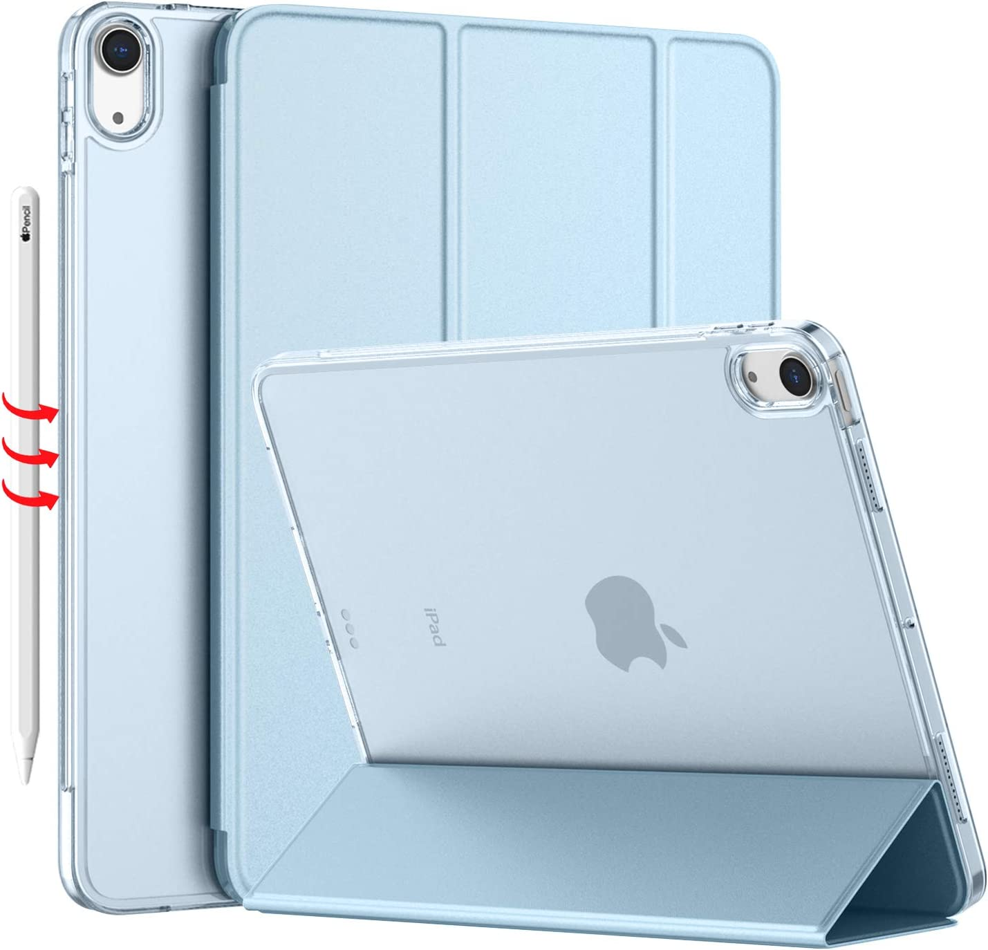 iMieet iPad Air 4 Case 2020 - iPad Air 4th Generation Case 10.9 Inch Lightweight Slim Cover with Translucent Frosted Hard Back [Support Touch ID](Sky Blue)