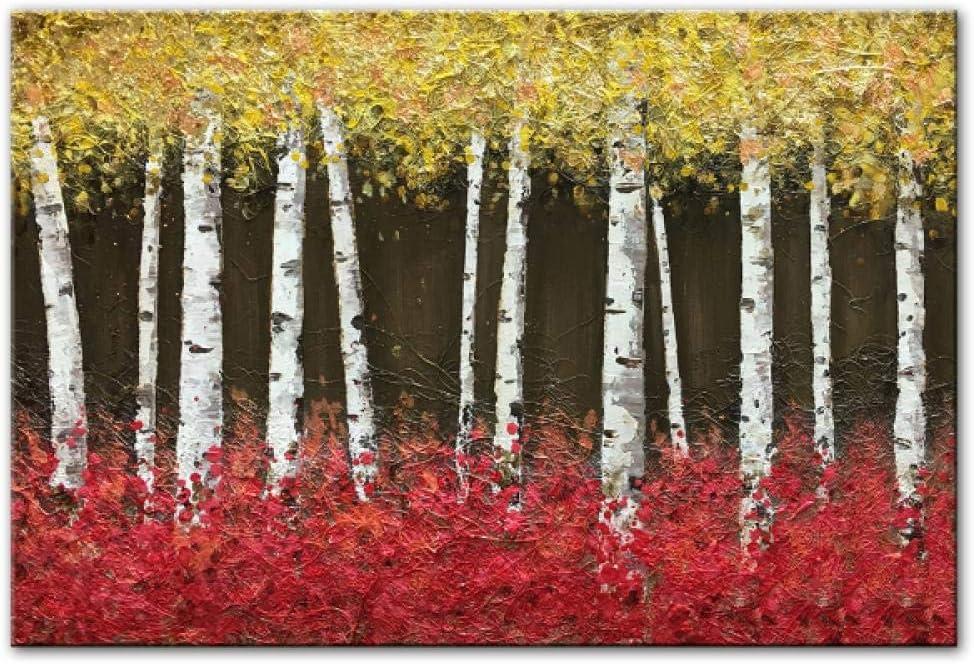 Jwqing Pinturas de árboles Abstractos Imprimir en Lienzo Color Claro Paisaje Arte de la Pared Impresiones de la Lona Cuadros Decorativos Modernos Decoración de la Pared (60x80cm sin Marco)