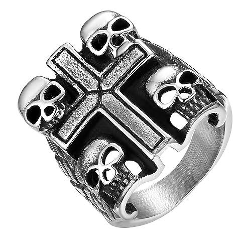 6936f31b708731 JewelryWe Gioielli Anello Grande Punk da Uomo Donna Teschio Croce, Anello  Gotico, Musica, in Acciaio Inossidabile, Regalo, Personalizzato: Amazon.it:  ...