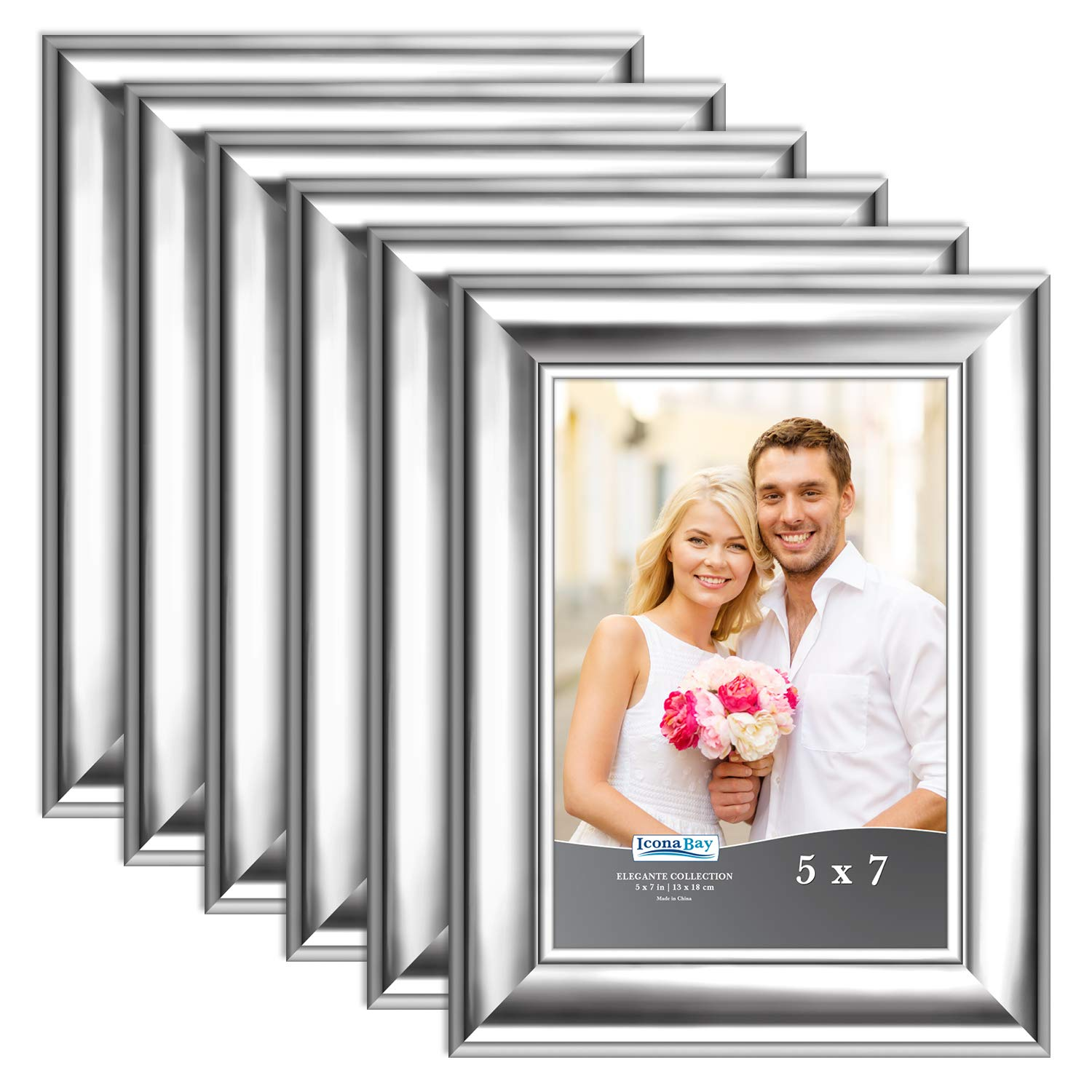 Icona Bay 5x7 Picture Frame (6 Pack, Silver), Silver Photo Frame 5 x 7, Wall Mount or Table Top, Set of 6 Elegante Collection by Icona Bay