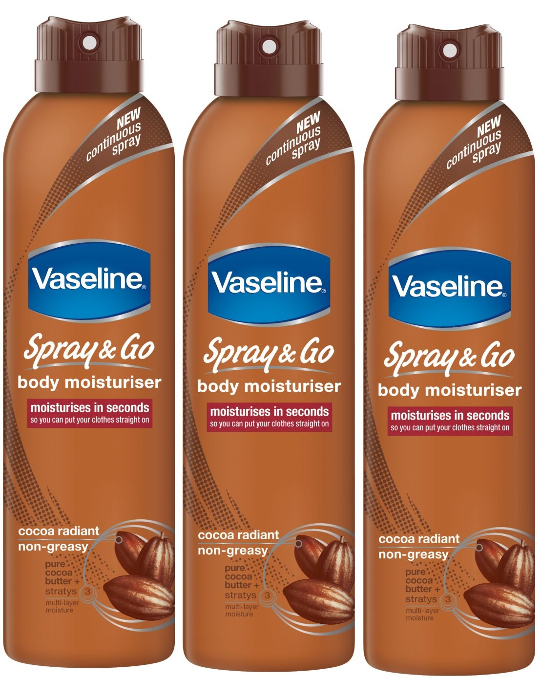 Vaseline Spray & Go Body Moisturiser Cocoa Radiant - 3 x 190ml