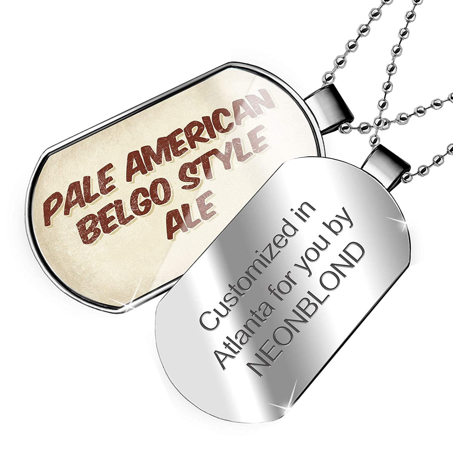 Vintage Style Dogtag Necklace NEONBLOND Personalized Name Engraved Pale American Belgo Style Ale Beer