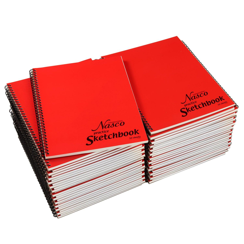 Nasco Practice Student Artist Sketchbooks - 50 Sheets, Bulk Pack of 50 - 8 - 1/2'' x 11'', 20 lb. by Nasco