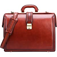 Banuce Vintage Men's Briefcase Full Grain Italian Leather for 15.6 inch Laptop Business Lawyer Doctor Bag Shoulder Attache Case Lock Executive Tote Brown