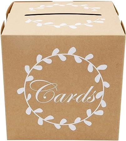 SurePromise - Tarjetero de boda para invitados, tarjeta de regalo, sobre, caja para recepción, aniversario, graduación, fiesta de cumpleaños Kraftpaper Box: Amazon.es: Hogar