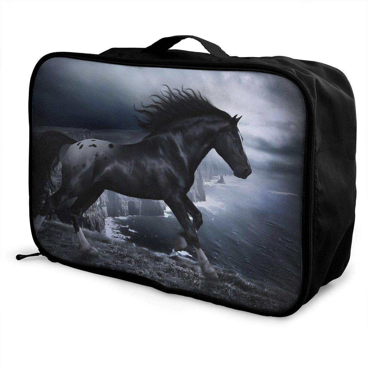 Travel Luggage Duffle Bag Lightweight Portable Handbag Cool Black Horse Large Capacity Waterproof Foldable Storage Tote