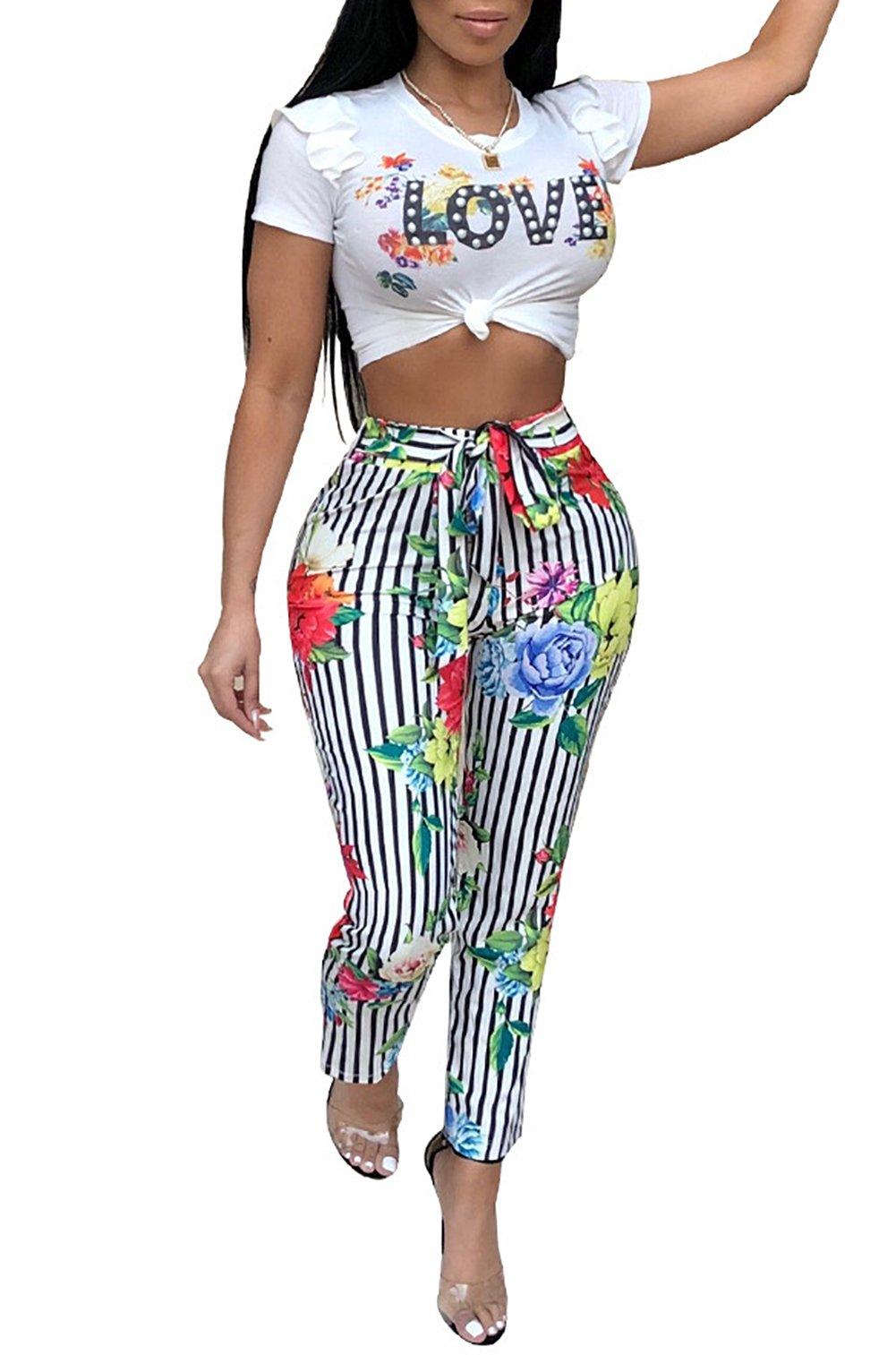 Molisry Women Floral Print Striped Sweatshirt Short Sleeve Crop Top Jumpsuits 2 Piece Outfits