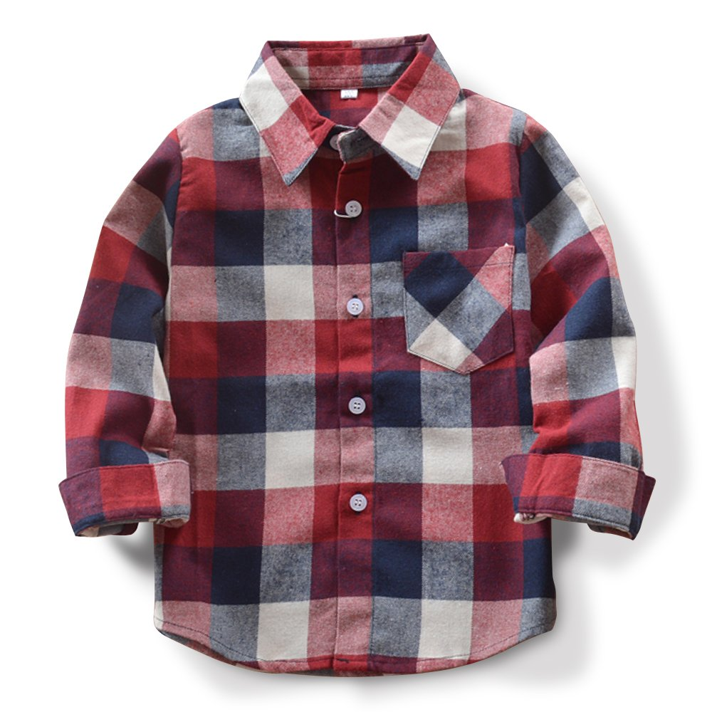 Boys Girls Long Sleeve Button Down Plaid Flannel Shirt