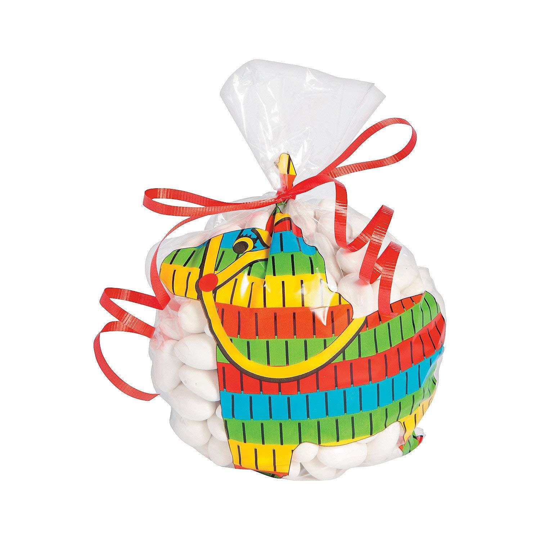 Party Supplies 12 Pieces Fun Express Bags Cinco de Mayo Pinata Shaped Cello Bags for Cinco de Mayo Cellophane Bags