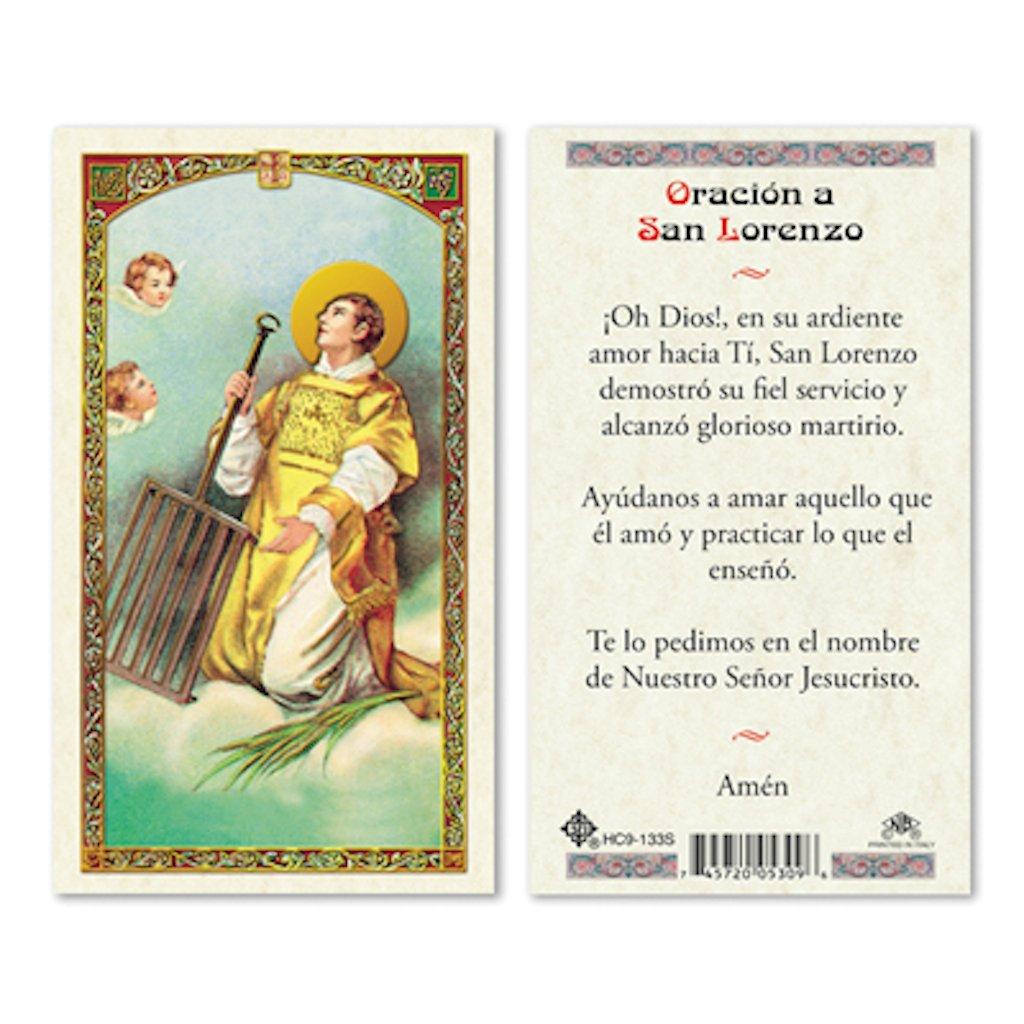 25//PKG SPANISH ST LORENZO LAMINATED PRAYER CARDS