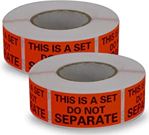 "2 Rolls/1000 Labels,This is a Set Do Not Separate,Fluorescent Red FBA Packing Labels(1"" x 2"")"