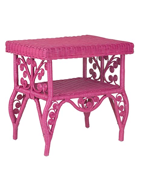 Amazon.com: East at Main Roxie Pink Rectangular Rattan Accent End ...
