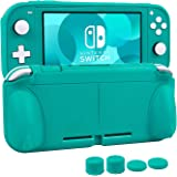 Protective Case for Nintendo Switch Lite, CHIN FAI Hard TPU Grip Case Self Stand Back Cover with Comfort Ergonomic Design with 4 Thumb Grips Caps (Blue)
