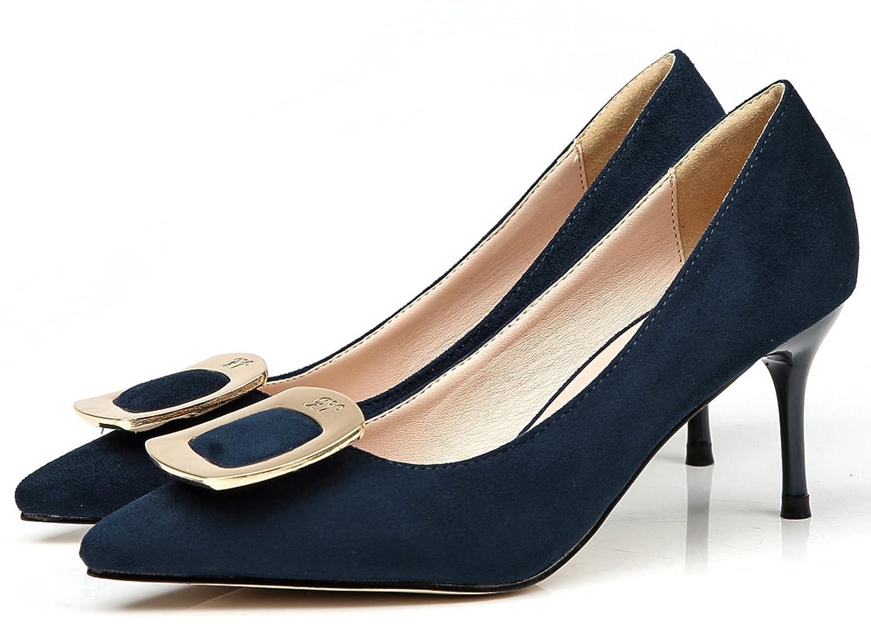 b441d33a94797 Amazon.com: BIGTREE Suede Women High Heels Elegant Pointed Toe Metal ...
