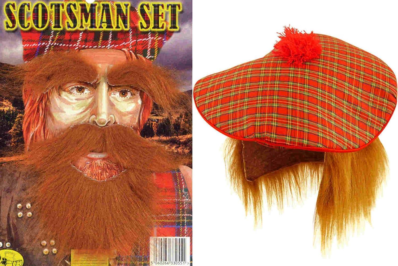 Tam O Shanter Tartan Hat and Ginger Beard Scottish Fancy Dress   Amazon.co.uk  Toys   Games 86593b947955