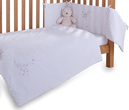 Bumper and Fitted Sheet Bedding Set Clair de Lune 3-Piece Pink Stardust Cot//Cot Bed Quilt