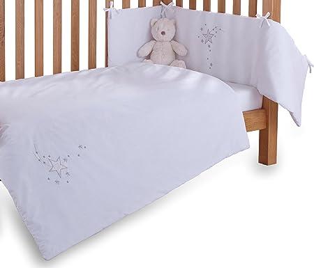Clair de Lune Silver Lining 2 Piece Cot//Cot Bed Quilt /& Bumper Bedding Set