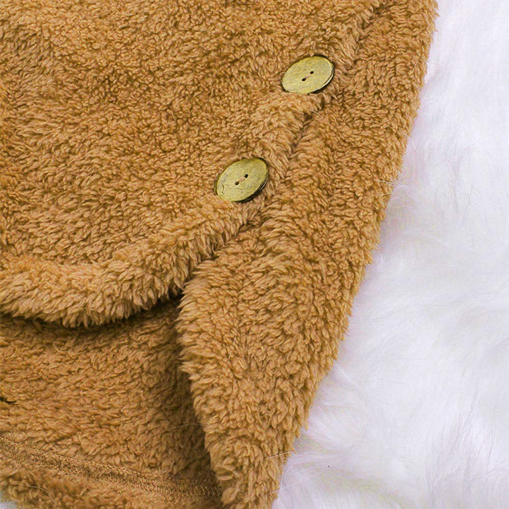 CANDLLY Damen Pullover Vlies Stickerei Hoodie Sweatshirt Damen Tops Langarm Pullover mit Kapuze Tops Winter Asymmetrischer Knopf Rand Kapuzenpullover Kapuzenpulli