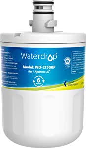 Waterdrop LT500P Refrigerator Water Filter, Compatible with LG LT500P, 5231JA2002A, ADQ72910901, Kenmore GEN11042FR-08, 9890, 46-9890, Advanced