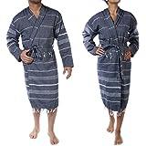 Cacala Hooded Bathrobe Pestemal Fabric 100% Turkish Cotton Kimono Unisex Black, Large/X-Large (BOR-CEP-Black-L)