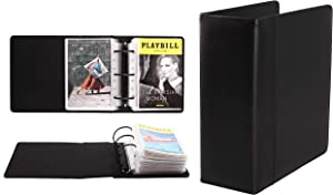 Broadway Play Program and Theater Playbill Binder with 30 Custom Sheet Protectors - PU Leather - Fits Playbills from Mid 1980s to Modern (Black Plain)