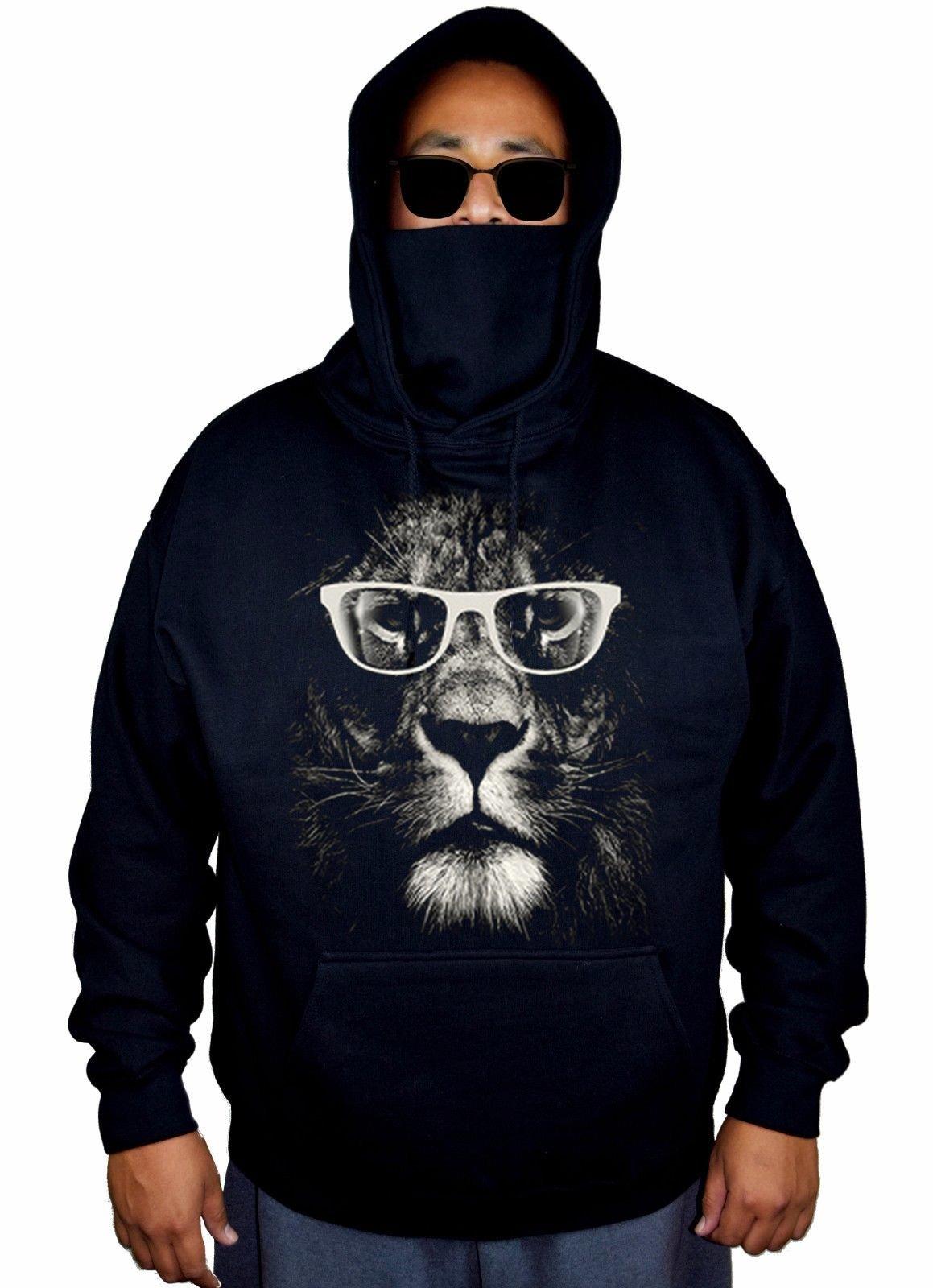 Men's Lion Glasses Black Mask Hoodie Sweater 2X-Large Black