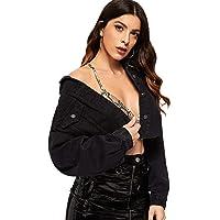 Floerns Women's Casual Drop Shoulder Ripped Crop Denim Jacket