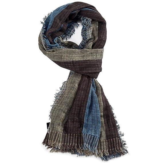 ROYALZ foulard écharpe homme automne hiver printemps léger doux motif rayée  carreaux effrangé multicolore, Couleur 11995465590